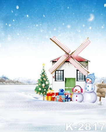 Windmill House Snowman Photo Background For Christmas Photography Backdrops
