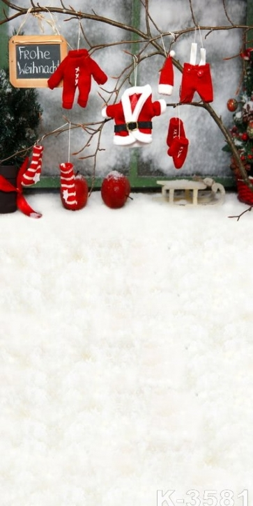 Christmas Hat Clothes Socks Gloves Vinyl Photo Backdrops Christmas Photography