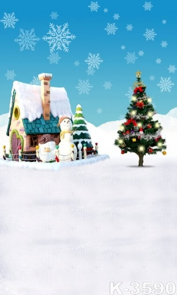 Cartoon Hut Christmas Tree Snowman Vinyl Christmas Photography Photo Backdrops