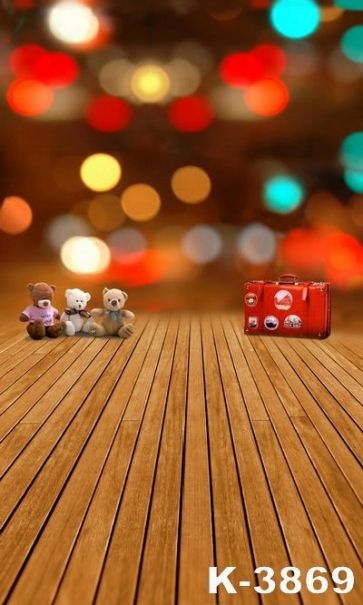 Wooden Floor Red Suitcase Toy Bear Photo Background For Children Photography Backdrops