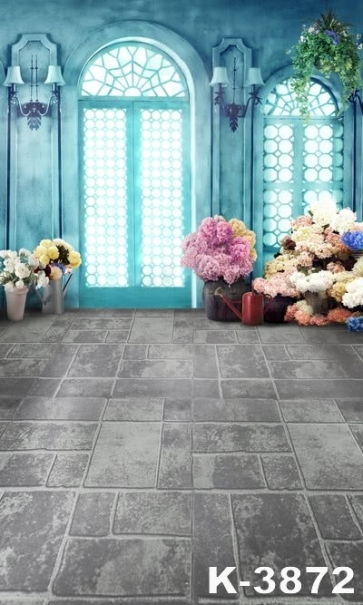 Indoor Grey Floor Tile Flowers Wedding Vinyl Photo Backdrops