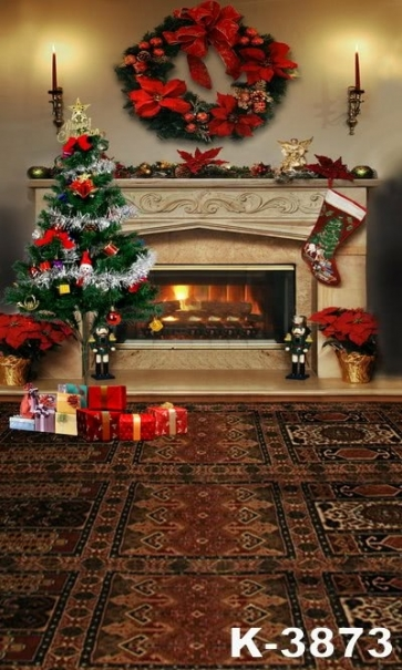 Fireplace Christmas Tree Candlelight Photo Background For Christmas Photography Backdrops