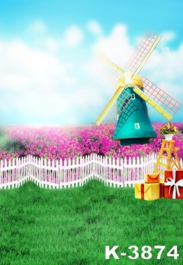 Blue Sky White Clouds Green Grass Flower Windmill kid's Vinyl Backdrops