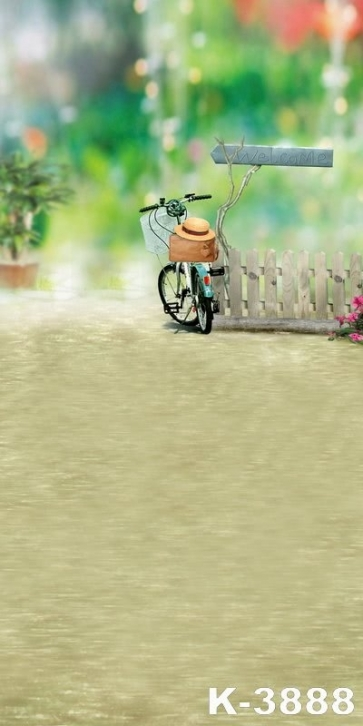 Wood Fence Bicycle Vinyl Photo Background Children Photography Backdrops