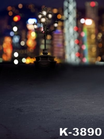 City Backdrop Beautiful Nightscape Streetlight Vinyl Photography Backdrops