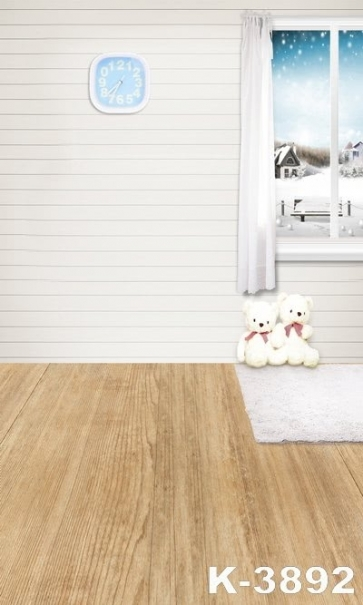 Snowflakes Outside The window Wooden Floor Toy Bear Children Vinyl Backdrops