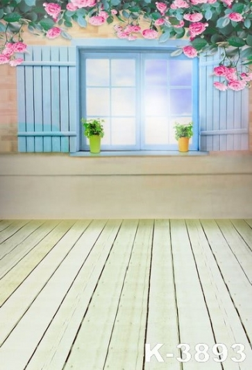 Wooden Floor Window Flowers Photo Background kid's Vinyl Backdrops