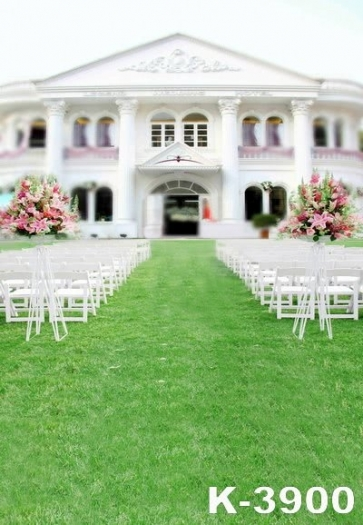 Outdoor Green Grass Wedding Venue Vinyl Photography Backdrops