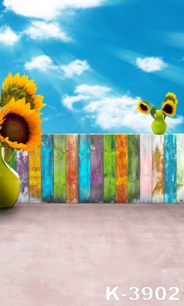 Blue Sky White Cloud Sunflower Wood Fence Kid's Photo Photography Background