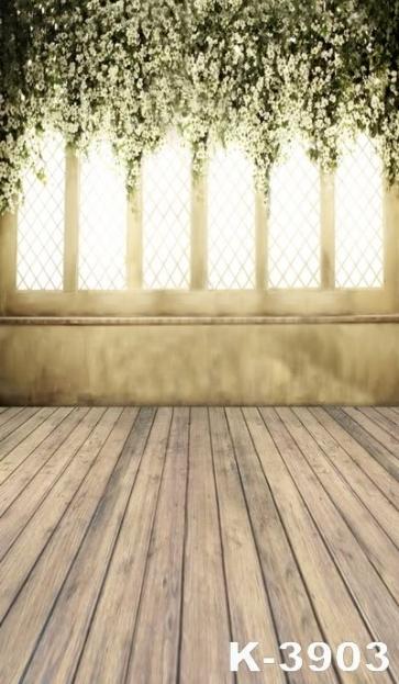 Indoor Plank Floor White Flowers Vinyl Wedding Photography Backdrops