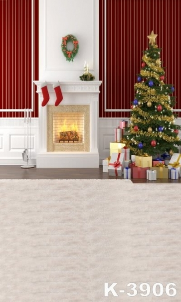 Red Background Wall Furnace Christmas Tree Christmas Photography Backdrops