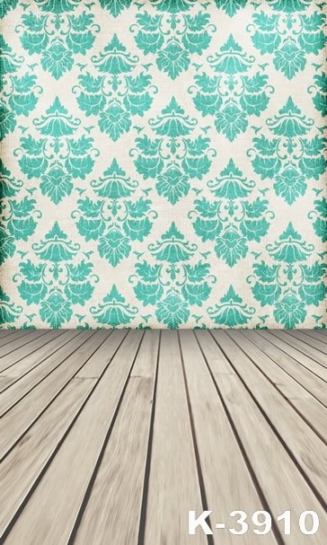 Green Flowers Pattern Wall Of  Vinyl Wooden Photography Backdrop