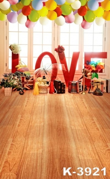 Wooden Floor Window Balloon Children Party Photography Vinyl Backdrops