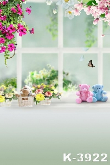 Window Flowers Cute Decoration Bear For Children Vinyl Backdrops