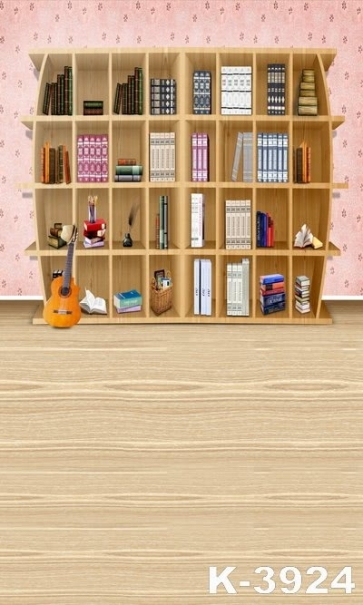Wooden Floor Bookcase Photo Background Children Vinyl Backdrops