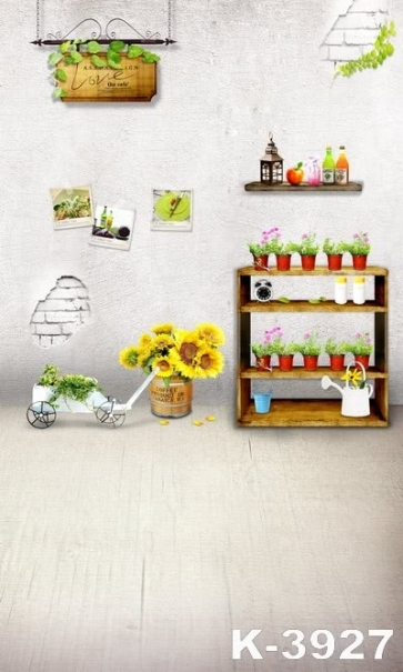 Brick Wall Plant Flowers Pots Photo Background Children Vinyl Backdrops