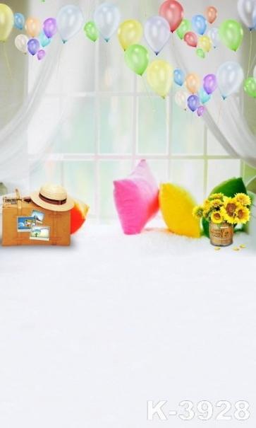 Balloon Window Suitcase Children Vinyl Backdrops Photo Background