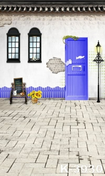 Brick House Purple Door Sunflower Flowerpot For Children Vinyl Backdrops