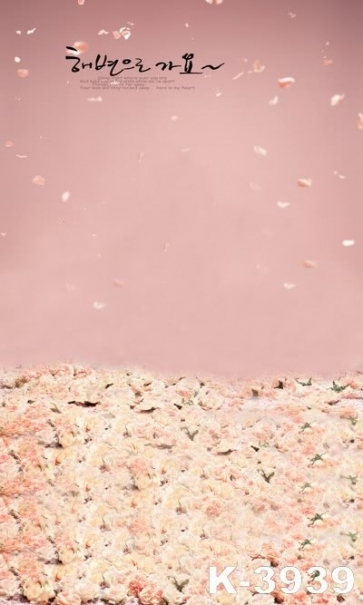 Beautiful Pink Bouquets of Flowers Vinyl Wedding Photography Backdrops