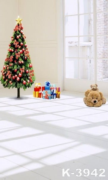 Transparent Glass Window Christmas Tree Toy Bear Vinyl Christmas Photo Backdrops