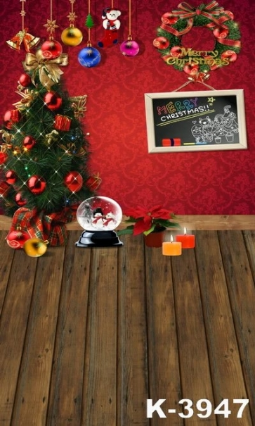 Red Wall Wooden Floor Christmas Tree Theme Photography Photo Vinyl Backdrops