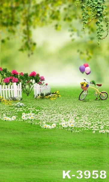 The Green Meadow Is Flower Bicycle Balloon Photo Studio Backdrops