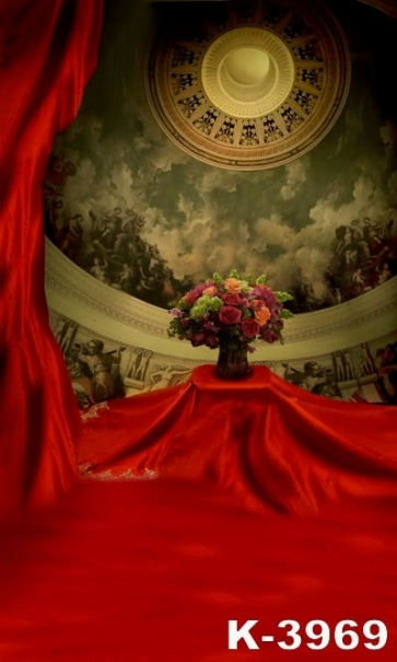 Banquet Hall Red Cloth Flowers Vinyl Wedding Photography Backdrops