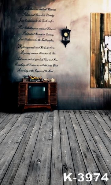 Retro Plank Floor Old TV Vinyl Wedding Photography Backdrops