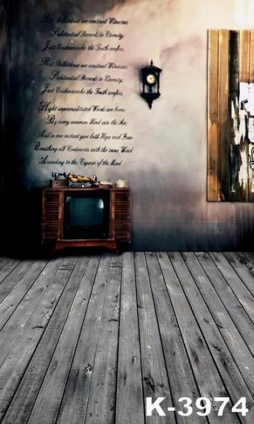 Retro Plank Floor Old TV Vinyl Wedding Photography Backdrops