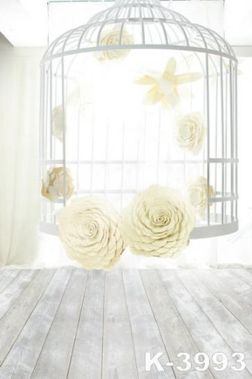 Indoor White Cage Flowers Romantic Vinyl Wedding Photography Backdrops