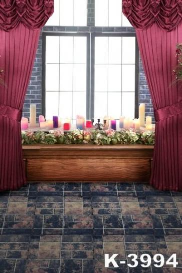 Retro Indoor Window Curtains Vinyl Wedding Photography Backdrops