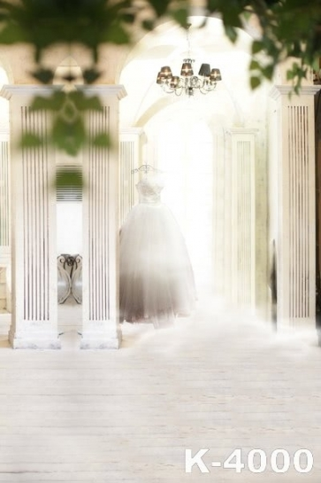 Bright White Palace Wedding Dress Vinyl Wedding Photography Backdrops