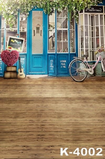 Plank Floor Blue Door Wedding Photo Backdrops Photography Studio Background