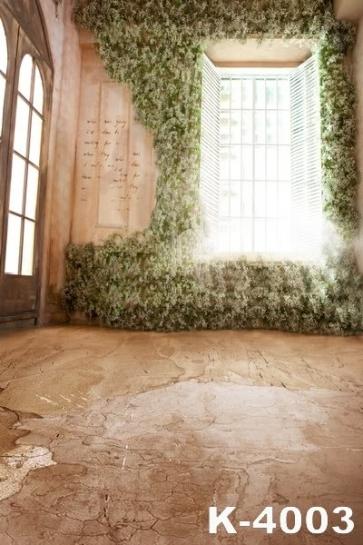 Indoor Retro Flowers Window Wedding Photo Backdrops Studio Background