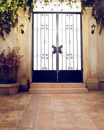 Courtyard Iron Gate Wedding Photo Backdrops Vinyl Backdrops