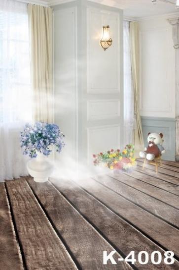 Indoor Bedroom Flowers Plush Doll Studio Background Wedding Photo Backdrops