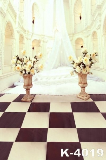 White Wedding Hall Flowers Wedding Photo Backdrops