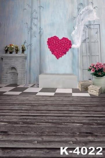 Red Flower Love Heart White Wedding Dress Head Yarn Wedding Photo Backdrops