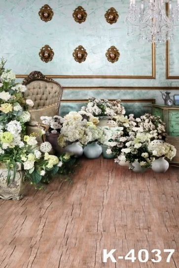 Indoor Living Room Flowers around Sofa Studio Wedding Photo Backdrops