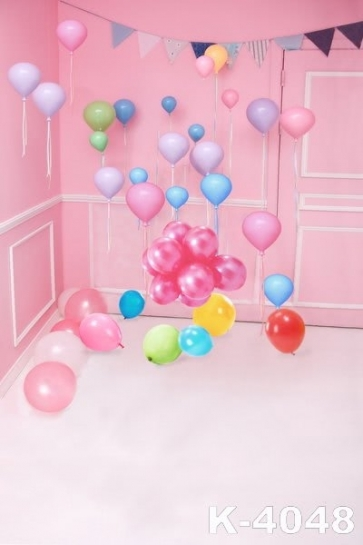 Romantic Colorful Balloons Pink House Indoor Wedding Vinyl Photography Backdrops