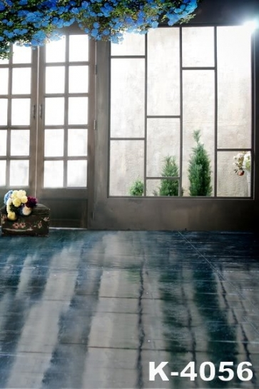 Indoor Glass Window Door Blue Flowers Wedding Studio Photo Backdrops