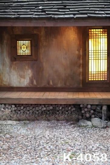 Korean Ancient Wood House Outside Wedding Vinyl Photo Backdrops