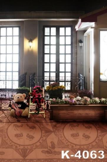 Modern Indoor Bears Flowers Wedding Photo Studio Backdrops