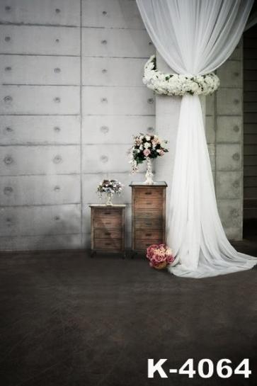 White Large Cylinder Garland Black Floor Wedding Photo Backdrops