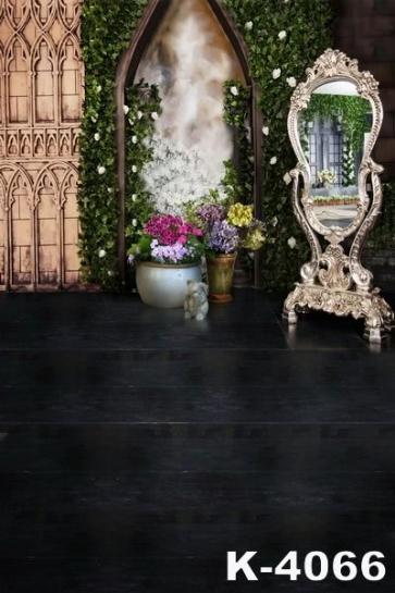 Retro British Style Mirror Black Floor Wedding Photo Backdrops