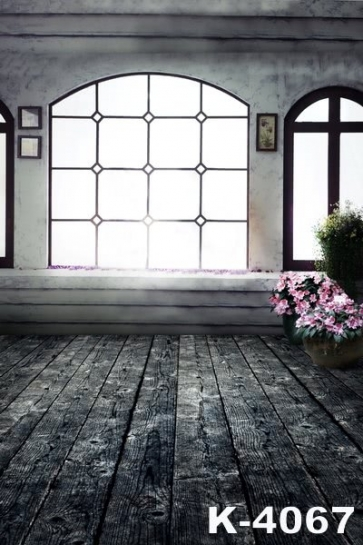 Old Plank Floor Windowsill Flowers Studio Background Wedding Photo Backdrops