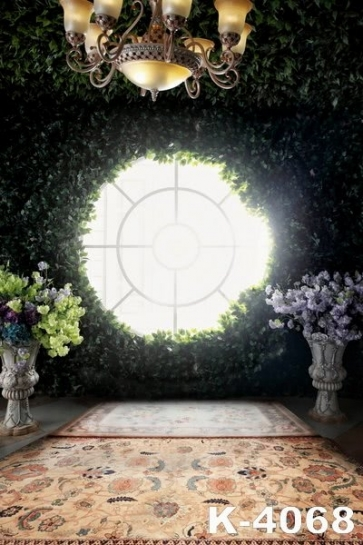 Bright Round Window Green Plants Flowers Studio Wedding Photo Backdrops