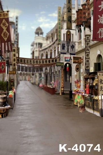 Retro Chinese Street Road Building Backdrops Vinyl Photography Background