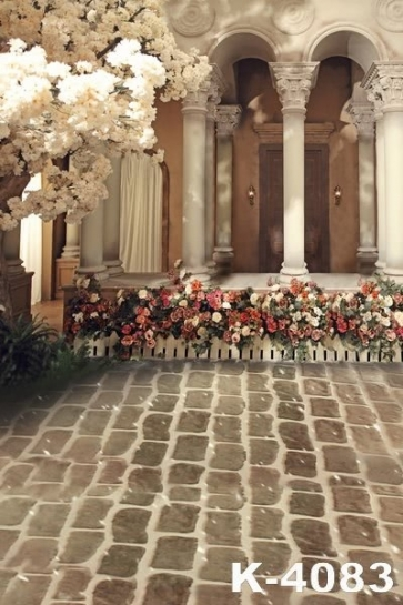 Beautiful Palace Brick Floor Flowers Wedding Studio Photo Backdrops