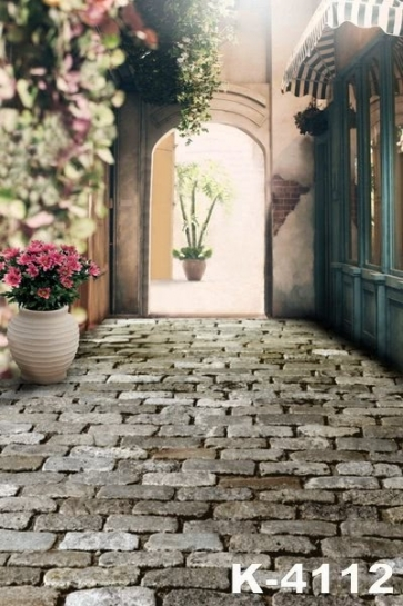 Age-old Stone Road Flowers Vinyl Wedding Photo Backdrops